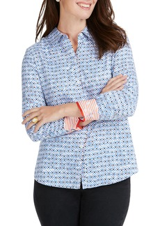 Foxcroft Ava Diamond Status Print Cotton Shirt