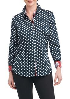 Foxcroft Ava Dot Paisley Trim Shirt (Regular & Petite)