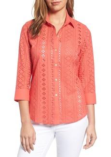 Foxcroft Ava Eyelet Shirt (Regular & Petite)