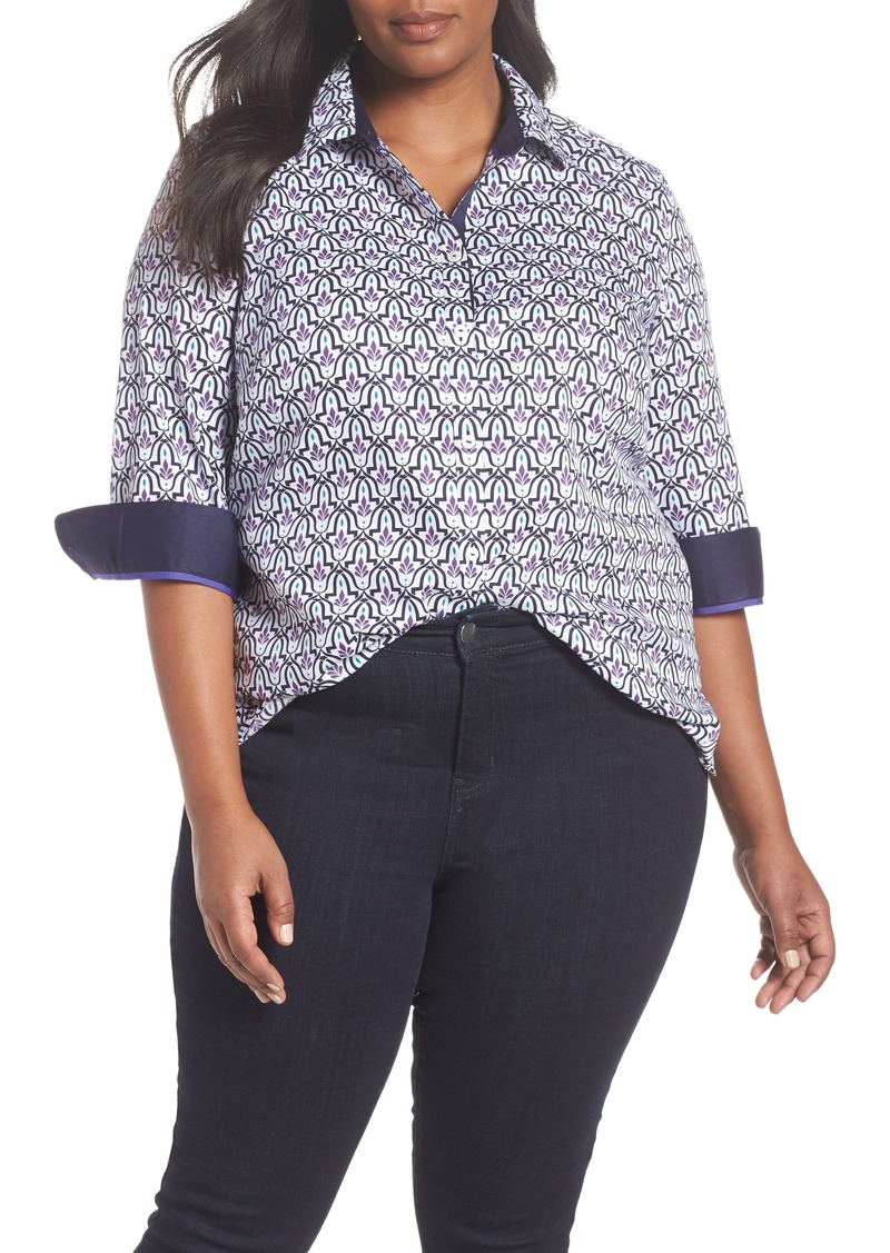 81a0267259f599 Foxcroft Foxcroft Ava Mosaic Combo Print Shirt (Plus Size) | Casual ...