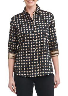 Foxcroft Ava Non-Iron Dot Print Cotton Shirt (Regular & Petite)