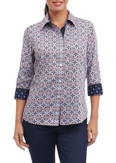 Foxcroft Ava Non-Iron Tile Print Cotton Shirt (Regular & Petite)