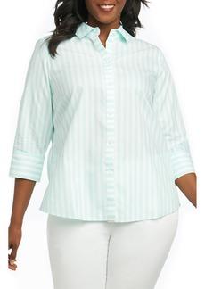 Foxcroft Ava Royal Oxford Stripe Shirt (Plus Size)