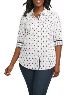 Foxcroft Ava Sailboat Print Non Iron Cotton Shirt (Plus Size)