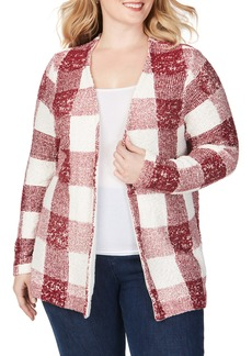 Foxcroft Bardot Buffalo Check Cardigan (Plus Size)