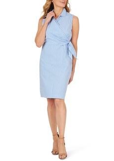 Foxcroft Capri Twill Stripe Faux Wrap Dress