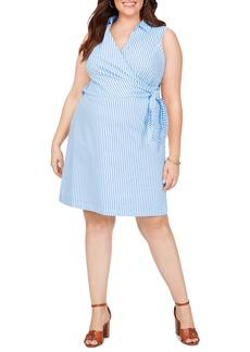 Foxcroft Capri Twill Stripe Wrap Front Cotton Blend Dress (Plus Size)