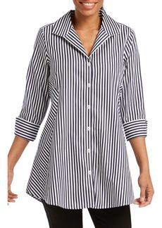 Foxcroft Cecilia Stripe Cotton Sateen Tunic Blouse