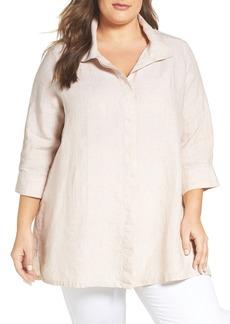 Foxcroft Chambray Linen Tunic Shirt (Plus Size)