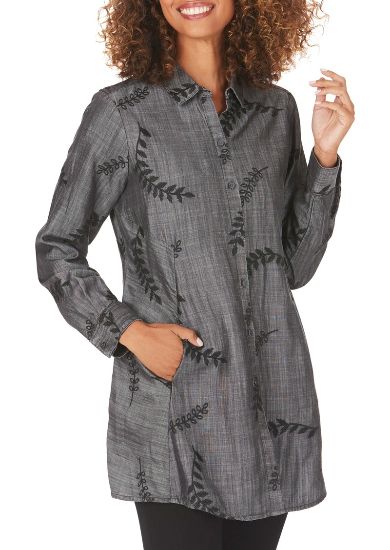 Foxcroft Cici Embroidered Tunic Shirt