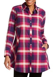 Foxcroft Cici Tartan Plaid Brushed Cotton Blend Tunic Top