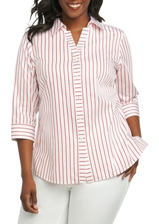 Foxcroft Clio Sateen Stripe Shirt (Plus Size)