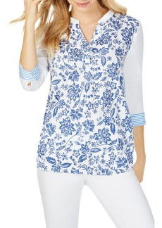 Foxcroft Colette Toile & Stripe Cotton Blend Top