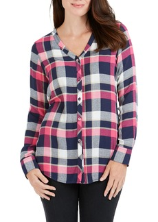 Foxcroft Daisy Crepe Plaid Shirt