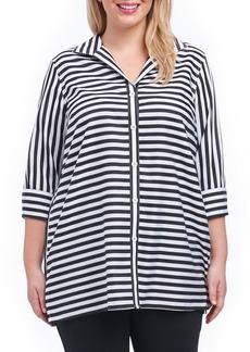 Foxcroft Dani Sateen Stripe Shirt (Plus Size)