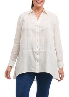 Foxcroft Daniela Windowpane Tunic Shirt (Plus Size)