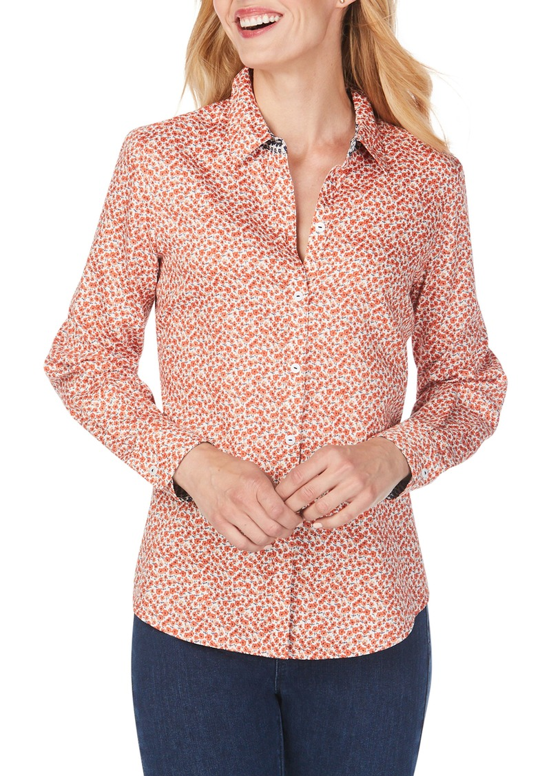 Foxcroft Ditsy Autumn Floral Wrinkle-Free Sateen Shirt