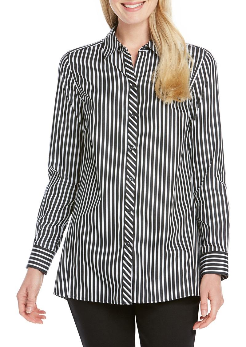 Foxcroft Emilia Holiday Stripe Shirt