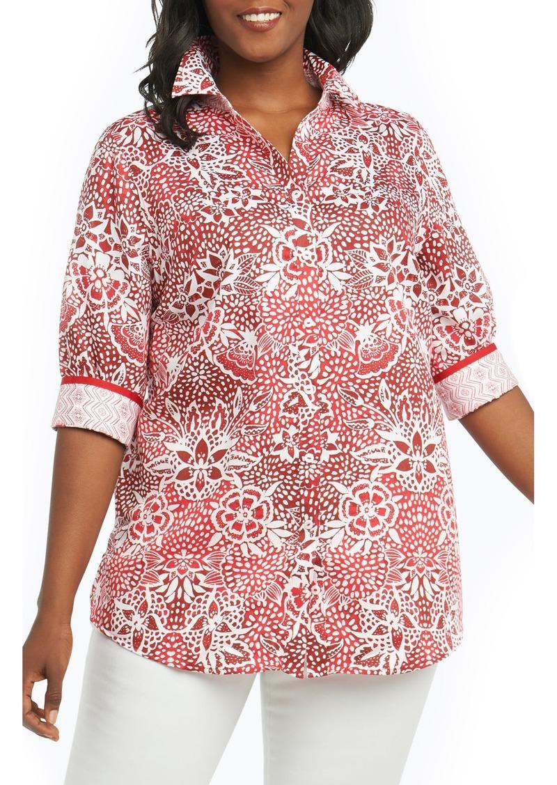 d1c7664e89d Foxcroft Foxcroft Faith Batik Floral Top (Plus Size)
