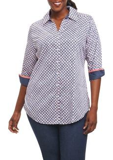 Foxcroft Faith Geo Print Shirt (Plus Size)