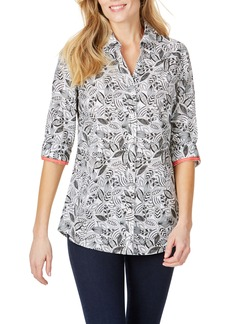 Foxcroft Faith Leaf Print Wrinkle Free Tunic Shirt