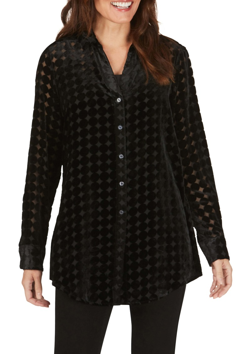 Foxcroft Faith Velvet Burnout Tunic Shirt