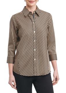 Foxcroft Fallon Satin Stripe Cotton Shirt (Regular & Petite)