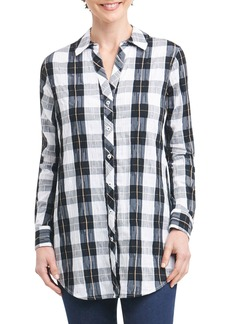Foxcroft Fay Crinkle Plaid Stretch Cotton Blend Tunic Shirt (Regular & Petite)