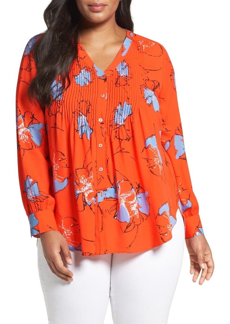 Foxcroft Foxcroft Floral Print Pintuck Blouse Plus Size Casual
