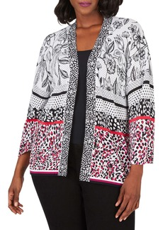 Foxcroft Florence Mixed Print Cotton Blend Open Cardigan (Plus Size)