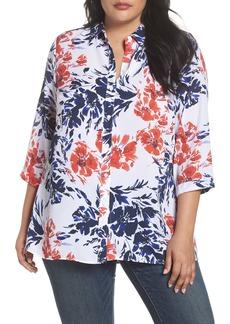Foxcroft Gigi Breezy Floral Top (Plus Size)