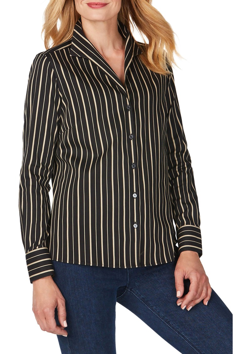 Foxcroft Gracey Festive Stripe No-Iron Stretch Shirt