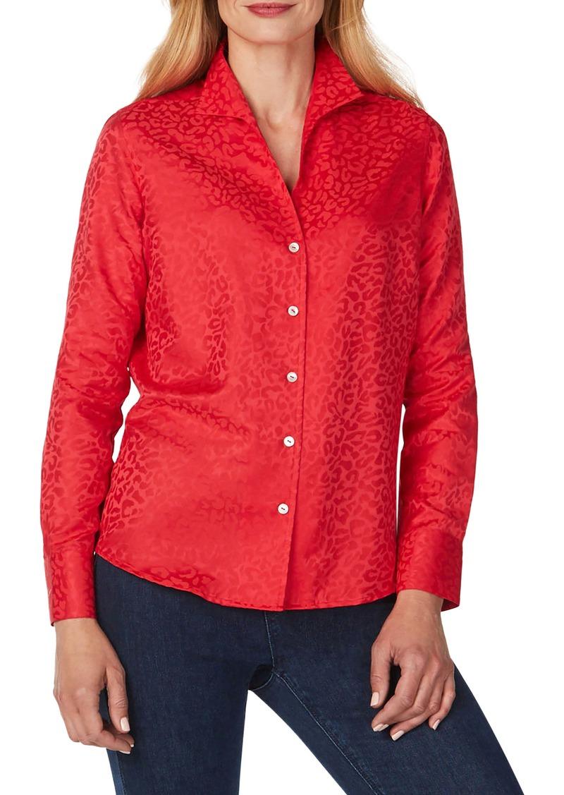 Foxcroft Gracey Wrinkle-Free Animal Jacquard Shirt