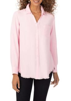 Foxcroft Haven Frayed Hem High/Low Button-Up Shirt