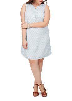 Foxcroft Haven Trefoils Raw Hem Sleeveless Shirtdress (Plus Size)