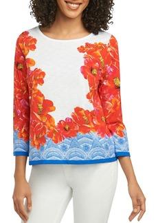 Foxcroft Hibiscus-Print Knit Top