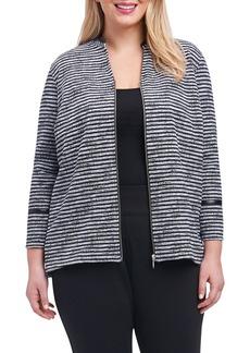 Foxcroft Irina Stripe Knit Jacket (Plus Size)