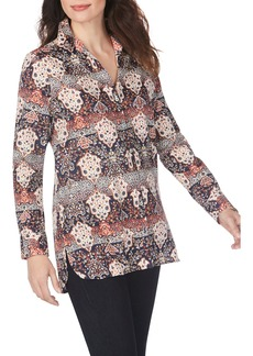 Foxcroft Jade Mixed Medallion Wrinkle-Free Sateen Tunic Shirt