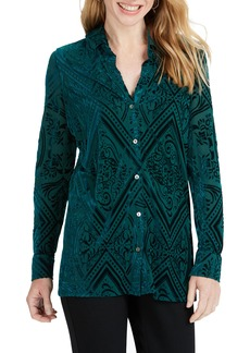 Foxcroft Jade Velvet Burnout Top