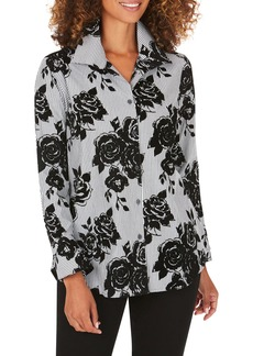 Foxcroft Jane Flocked Floral Stripe Tunic Shirt