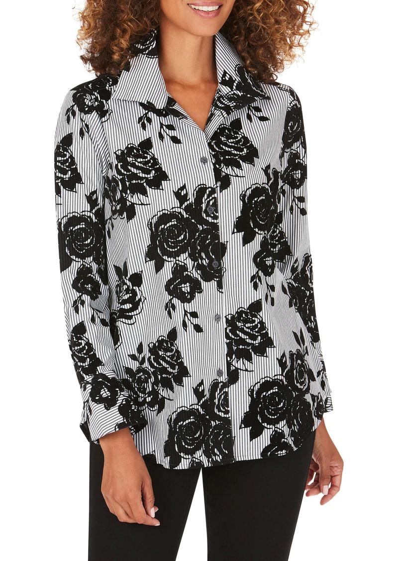 Foxcroft Jane Flocked Floral Stripe Tunic Shirt