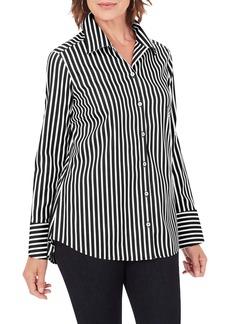 Foxcroft Jane Stripe Button-Up Shirt