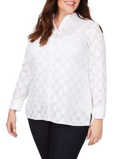 Foxcroft Journey Burnout Polka Dot Shirt (Plus Size)