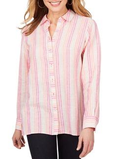 Foxcroft Journey Stripe Linen Chambray Shirt