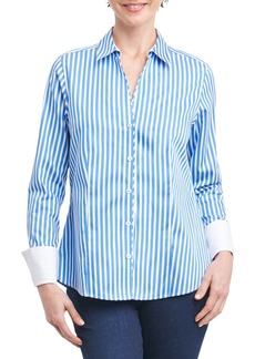 Foxcroft Lauren Sateen Stripe Shirt (Regular & Petite)