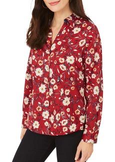 Foxcroft Lauren Windswept Floral Print Button-Up Shirt