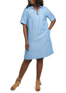Foxcroft Leah Linen Dress (Plus Size)