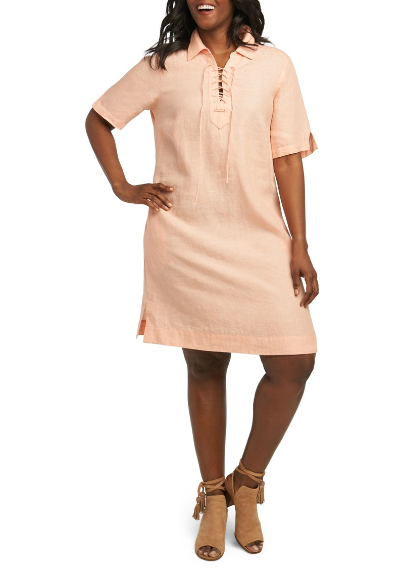 Foxcroft Foxcroft Leah Linen Dress (Plus Size) | Dresses