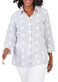 Foxcroft Libby Sea Stripe Button Front Shirt (Plus Size)