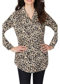 Foxcroft Lucca Evening Leopard Wrinkle-Free Tunic Shirt